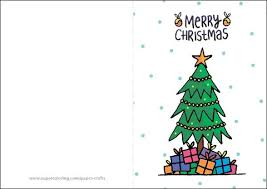 Click To See Printable Version Of Merry Christmas Card With Presents And Tree Template Paper