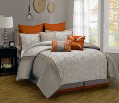 fascinating grey orange bedding sets with silk forter set in 11