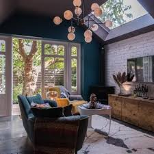 Inspiration For A Mid Sized Eclectic Enclosed Slate Floor And Gray Living Room Remodel