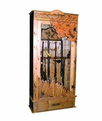 Locking Gun Cabinet With Carved Duck Hunting Scene