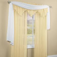 Blue Crushed Voile Curtains decor elegant scarf valance with beige paint wall for elegant