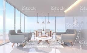 moderne weiße wohn und esszimmer mit sea view 3d renderingbild stockfoto und mehr bilder architektur