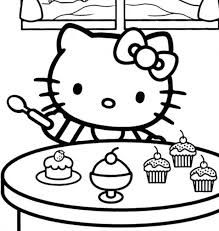 Coloring Pages Hello Kitty Birthday Mermaid Free Cat Pictures Eating Ice Cream