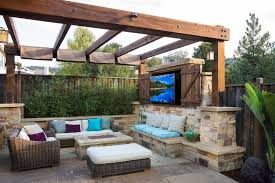 Outdoor Tv Cabinet Plans with Traditional Patio Fire Pit