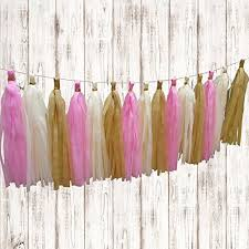 Pink Ivory And Beige Tissue Paper Hanging Tassels20 Pcs Party Tassel Garland Banner Decoration