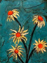 Turquoise Daisies Abstract Art Flowers Painting