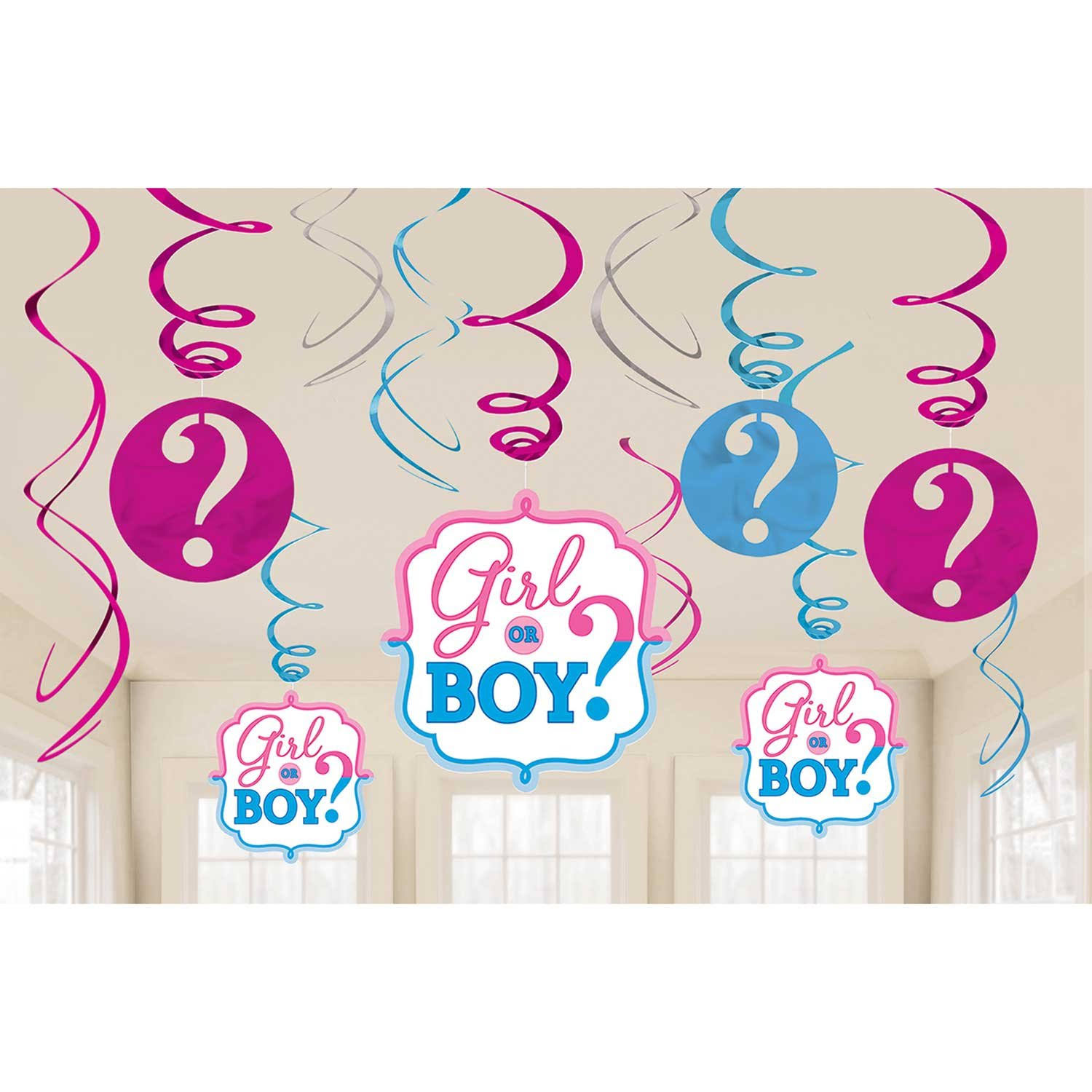 Baby Shower Gender Reveal 'Girl Or Boy' Hanging Swirl Decorations - 12pcs