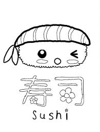 28 Collection Of Kawaii Sushi Coloring Pages