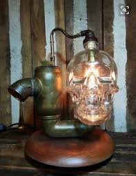 Ed Gein Lampshade Factory by Crystal Head Vodka Lamp Skull Light Steampunk Industrial