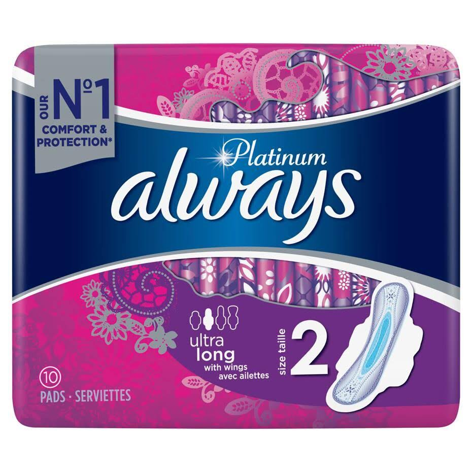 Always Platinum Long Sanitary Pad - with Wings, Size 2, 10pcs