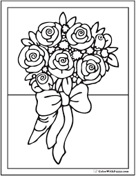 Pleasurable Roses Coloring Pages 2 Ribboned Bouquet Of Page