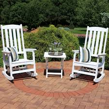 Sunnydaze All-Weather Traditional Rocking Chair Set Of 2 With Side Table -  White Surprising Oversized White Rocking Chair Decorating Baby Outdoor Polywood Jefferson 3 Pc Recycled Plastic Rocker 10 Best Chairs Womans World Presidential Black 3piece Patio Set Hanover Allweather Pineapple Cay Porch Good Looking Gripper Cushions Ding Room Xiter Bamboo Adjustable Lounge Leisure Iron Alloy Waterproof Belt Parryville Classic Wicker Wood