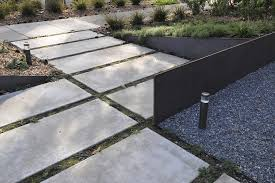 Modern Concrete Walkway Landscape Contemporary With Garden Lighting Outdoor