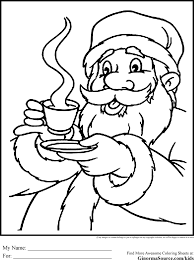 Santa And Hot Cocoa Coloring Pages