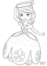 Princess Sofia Drawing With A Book On Her Head Coloring Page