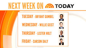 Willie Geist Carson Daly Halloween by Lester Holt Bryant Gumbel To Co Anchor Today With Matt Next Week