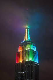 Rainbow Color Light Design Empire State Building At Night