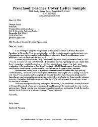 Preschool Teacher Cover Letter Resume Sample Download