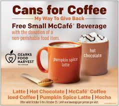 Mcdonalds Pumpkin Spice 2017 by Cans For Coffee Food Drive Ozarks Food Harvest
