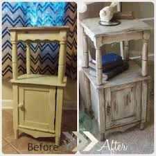 Before After Shabby Chic Paints Cabinet Table End Night Stand Laminate Pressed Wood Makeover Fab Furniture