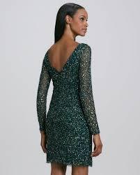 aidan mattox sequined longsleeve cocktail dress in green lyst