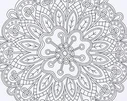 Flower Mandala Coloring Page Instant Digital Download Printable Adult Book