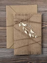 Burlap And Golden Birds Wedding Invitations Tied With Twine