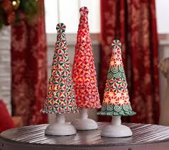 Qvc Christmas Tree Storage Bag by Set Of 3 Illuminated Peppermint Trees By Valerie Page 1 U2014 Qvc Com