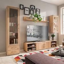 wohnwände aus massivholz mit oder ohne fernseher
