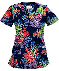 Ceil Blue Print Scrub Jackets by Ua Pretty Paisley Blue Print Scrub Top Classic Scrub Tops