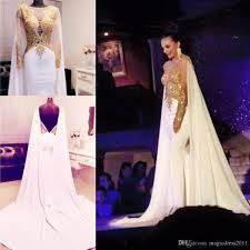 elegant arabic beaded gold appliques prom dresses long sleeve 2016