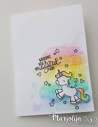 Rainbow unicorn card by MarjolijnMakes Watercolour rainbows and Avery Elle s Be A Unicorn stamp