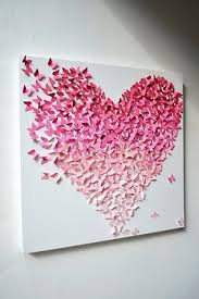 Pink Ombre Butterfly Heart Wall Art