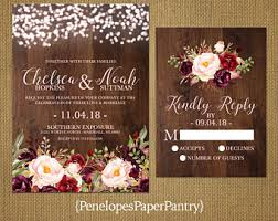 Rustic Fall Wedding InvitationBurgundyMarsalaBlushFairy LightsBarn Wood