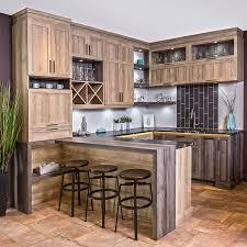 armoires de cuisine rustique chic en mélamine avec comptoir de