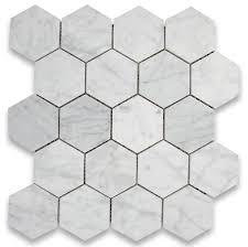 Faux Marble Hexagon Floor Tile by Carrara Mosaic Tile Chip Size 3
