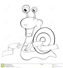 Coloring Book Snail Runner Cartoon Style Clip Art For Children