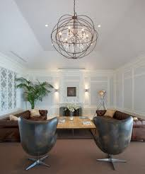 High Ceiling Living Room With Chandelier