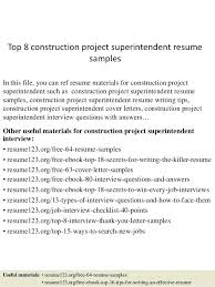 Superintendent Resume Sample Top 8 Construction Project Samples In This File You Can Ref