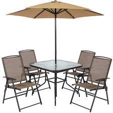 Best Choice Products 6 Piece Outdoor Folding Patio Dining Set W Table 4 Chairs Umbrella And Built In Base Tan