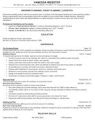 Planning And Organizational Skills Resume Wedding Planner Simple Example Sample