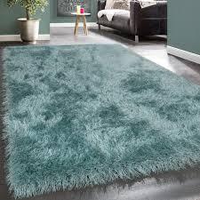 wohnzimmer teppich shaggy hochflor soft garn türkis