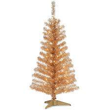 Amazon National Tree 4 Foot Champagne Tinsel With Plastic Stand And 70 Clear Lights TT33 302 40 Home Kitchen