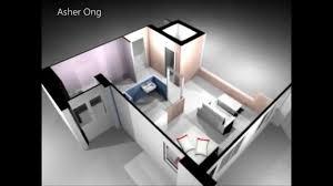 100 Tiny Apartment Layout 1 Room HDB Flat Corner 1 Studio 1SA Model 3D Render Floor Plan Typical