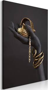 decomonkey bilder schwarz gold 60x90 cm 1 teilig leinwandbilder bild auf leinwand vlies wandbild kunstdruck wanddeko wand wohnzimmer wanddekoration