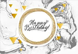 Download Happy Birthday Black Marble Texture Card Shimmer Golden Banner Template White Background