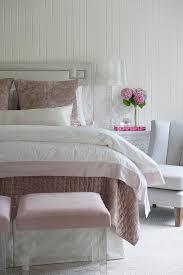 Light Gray Greek Key Headboard with Pink Bedding Transitional