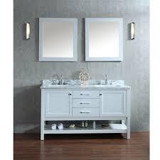 60 inch double sink modern cherry bathroom vanity with open shelf