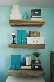 Reclaimed Wood Floating Shelveswith A Hidden Drawer