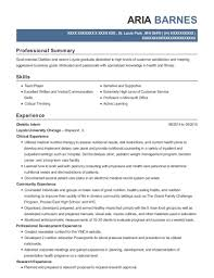 View Resume Dietetic Intern
